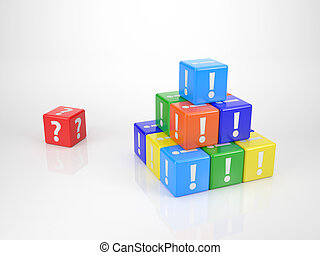 Red Cube with Questionmark - Red Cube with Question Mark in...
