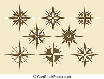 Compass - Vector oldstyle wind rose compass set
