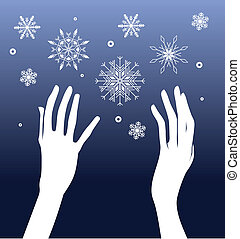 Hands and snow
