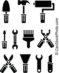 Tools set - Set of vector tools on white background