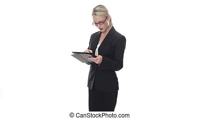 business woman on tablet