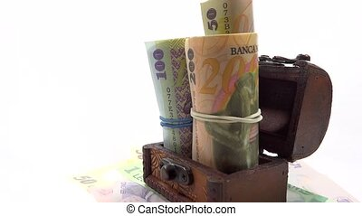 banknotes in old trunk rotating