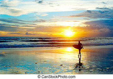 Surfing on Bali - Surfer on the ocean beach at sunset on...