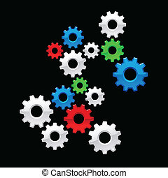 Color Gears - Vector color gears on black background