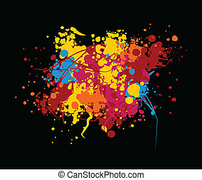 Abstract - Vector color blob on black background