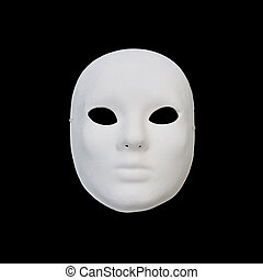 white mask - White mask with blank expression on black...