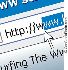 Web surfing - Address line on the computer, blue, gray,...