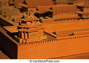 Forbidden city pagoda in scale