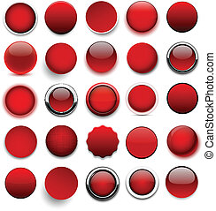 Round red icons - Set of blank red round buttons for website...