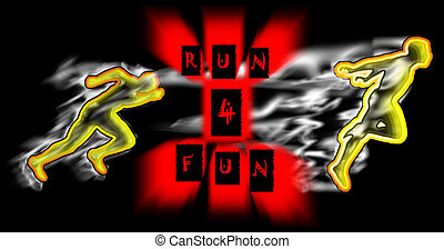 Runners #01 - Illustration showing athletes running swathed...