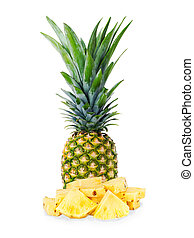 ripe pineapple with slices isolated on white background -...