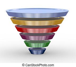 3d funnel structure design - 3d illustration of funnel...