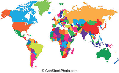 Corolful world map - Colored map of world with countries...