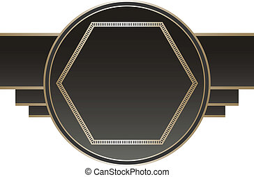 Art Deco Stye Badge isolated against a white background