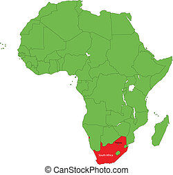 South Africa - Location of South Africa on the Africa...