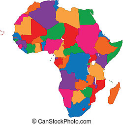 Colorful Africa map with countries and capital cities