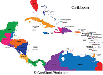 Caribbean map - Colorful Caribbean map with countries and...