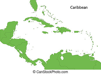 Green Caribbean map - Caribbean map with countries