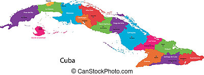 Cuba map - Colorful Cuba map with provinces and capital...