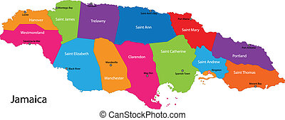 Map of Jamaica with the parishes colored in bright colors...
