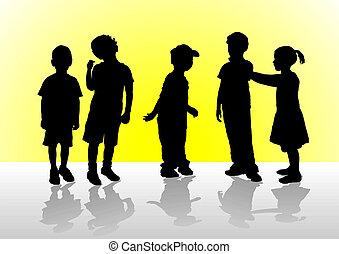 Children - Five children in a confidential interview