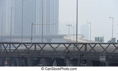 viaduct & overpass in pollution - viaduct & overpass in haze...
