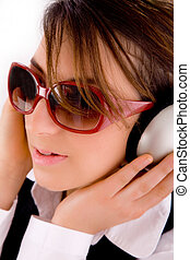 closeup of young professional listening to music