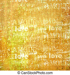 Grunge ancient used paper in scrapbooking style with text and hearts