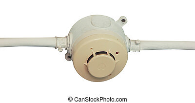 Smoke detector fitted on a ceiling - Sensor before damage to...