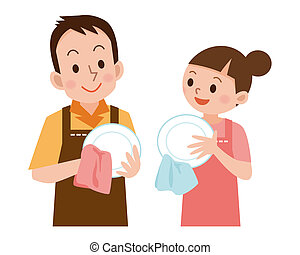 Couple to wipe the dishes