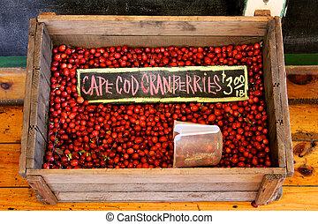 Cape Cod Cranberries - Crate of Cape Cod cranberries at a...