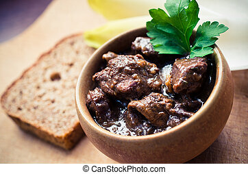 Traditional beef bourguignon - Traditional French beef...