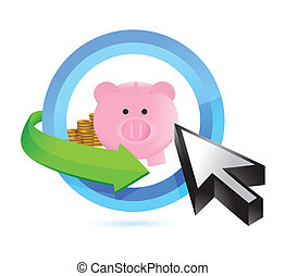 selecting savings illustration design over a white...