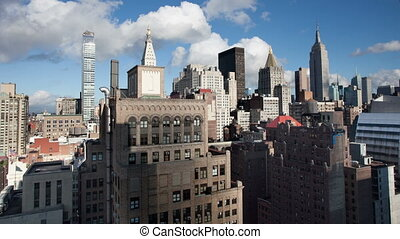 timelapse of manhattan skyline from a high vantage point on...