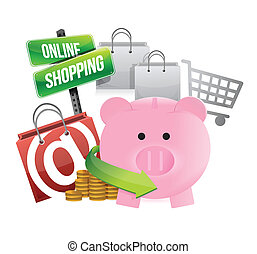 shopping with savings illustration design over a white...