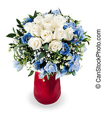 colorful floral bouquet from white roses and delphinium...