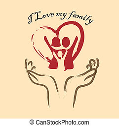 i love my family over pink background vector illustration