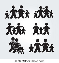 family silhouette gray - family silhouette over gray...
