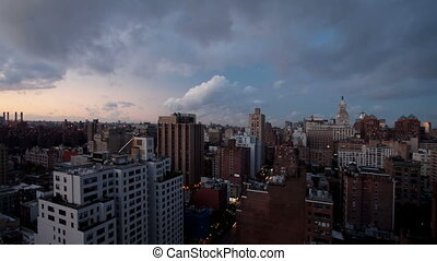 timelapse of manhattan skyline from a high vantage point on a beautiful morning