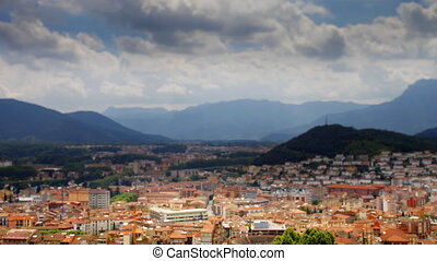 timelapse of clouds over the town of Olot in cataluyna, spain