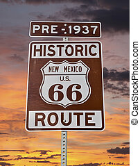 Old Route 66 New Mexico Sign with Sunrise Sky - Historic...