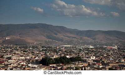 a timelapse of the skyline of the city of oxaca, mexico
