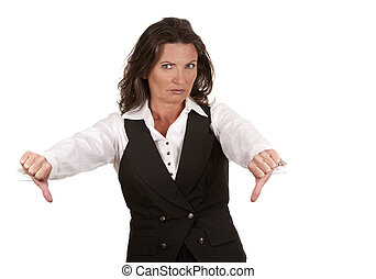 business woman thumbs down - business woman showing thumbs...