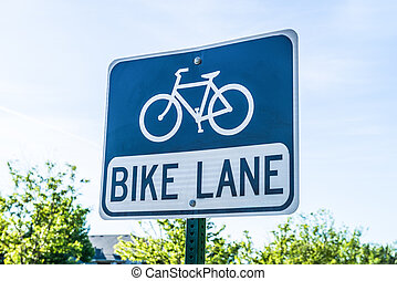 Bike Route Sign - Bike lane route sign in blue and white...