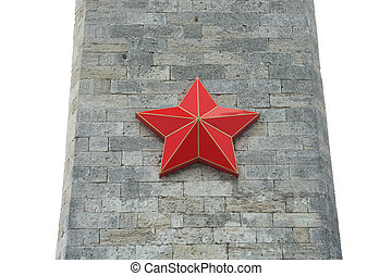 Red Star on the obelisk of gray stone