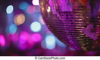 abstract shot of in a nightclub, close-up of a glitterball