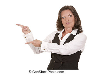 business woman pointing hand on white background