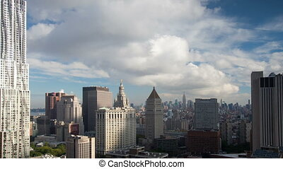 view of midtown manhattan skyline shot from a high vantage...