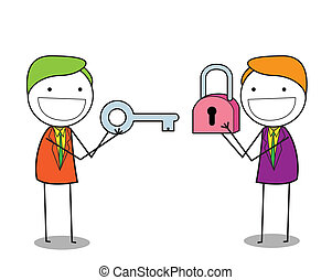 businessman padlock