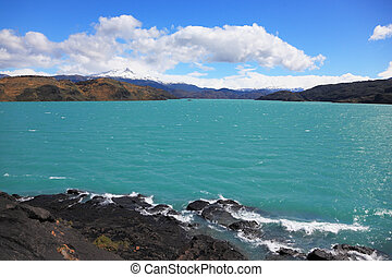 Magnificent azure lake Pehoe - National Park in Chilean...